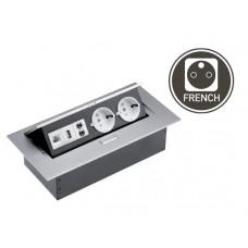 Удлинитель для офиса 2 розетки + USB + ETHERNET алюминий GTV