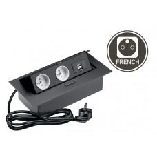 Удлинитель для офиса 2 розетки+USB черный (AE-PBU2GU-20)