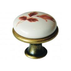 Ручка фарфоровая кнопка коричневый цветок