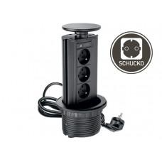 Удлинитель для офиса 100 мм 3 розетки черный (AE-BPW3GS-20)