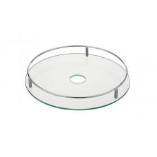Полка стеклянная центральная d=350мм на трубу 50 хром