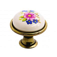 Ручка фарфоровая кнопка синий цветок (R)