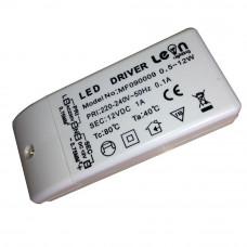 Трансформатор LED 12В/ 12Вт корпус пластик IP20