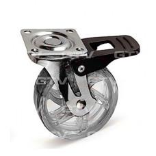 Ролик мебельный прозрачный SHIFT d=75 мм с тормозом GTV