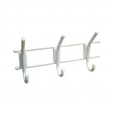 Вешалка 3-х крючковая белая пластик